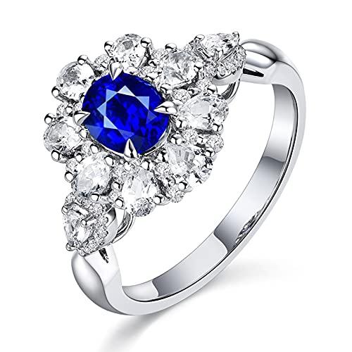 Beydodo Trauring Damen Weißgold 750, Eheringe Frauen Blume mit 0.67ct Oval Saphir Ringe Verlobung Weißgold mit Diamant Größe 54 (17.2)