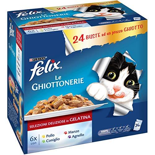 PURINA FELIX LE GHIOTTONERIE Umido Gatto con Manzo, con Pollo, con Coniglio e con Agnello - 24 buste da 100g ciascuna (confezione da 24x100g)
