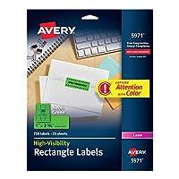 """Avery 高視認性 1 x 2 5/8インチ 蛍光グリーンラベル 3,750ラベル (5パック 5971) 1"""" x 2 5/8"""""""