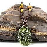 Gemma verde naturale Moldavite Meteorite Ciondolo collana ceca in vetro di impatto, collana di gioielli con meteorite moldavite (10-15g)