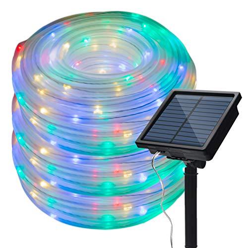 Solar Lichtschlauch 13M LED Lichterkette mit 100 Leds Lichterschlauch für Innen und Außen Gartendeko Baum Party, bunt