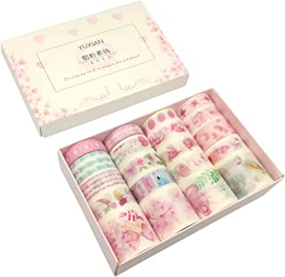 Washi Tape Set 20 Rolls Kawaii Pink Stuff Strawberry Flower Bowknot Color Feather Lollipop Fruit Heart Cartoon Rabbit Floral Sticker DIY Label for Stationery Art Craft Scrapbook Gift Box Letter Album