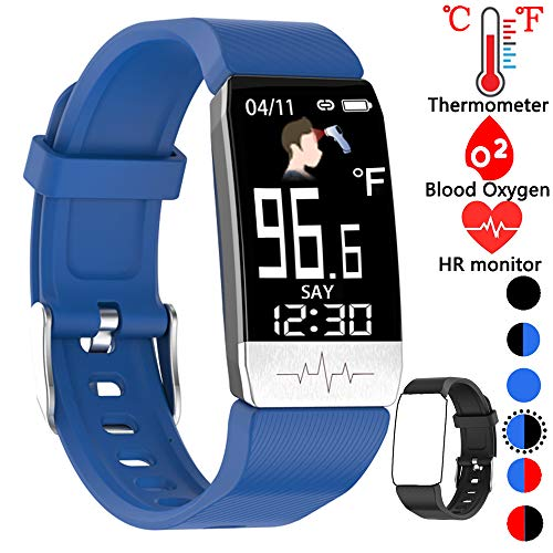 Fitness Tracker,Smart Watch with Body Thermometer Heart Rate Blood Oxygen Blood Pressure Monitor,Pedometer Sleep Monitor, Step Counter for Kids Women Men (f-Blue+Black)