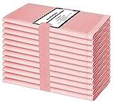 Baumwolle-Klinik Paquete de 12 Servilletas de Tela, Servilletas de Algodón, Suave y Cómoda, Calidad de Hotel Duradera, para Boda, Eventos y Uso Doméstico Regular 44 x 44 cm Bebé Rosa