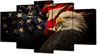 VVOVV Wall Decor - American Flag With Bald Eagle Hawk Canvas Painting Independence Day Pictures Artwork Modern Wall Art For Home Decor (Large)
