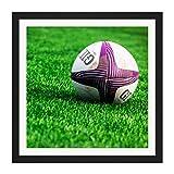 Artery8 Photo carrée en Bois encadrée de Champs de Ballon de Rugby - 40,6 x 40,6 cm