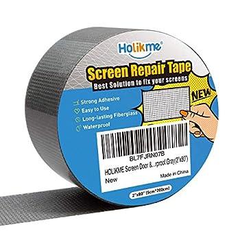 Holikme Window Screen Repair Kit Door Window Fly Lanai Screen Repair Patch Tape Strong Adhesive Long Lasting Fiberglass Covering Wire Mesh Repair Tape Seal for Repair Holes Tears (2×80inch)…