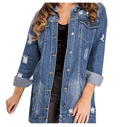 Harpily Giacca di Jeans Lunga Donna Giubbotto Denim Oversize Cardigan Aperto Davanti Jacket Parka Caldo Elegante Capisalla Giacche Primavera Inverno