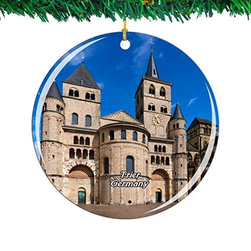 Weekino Alemania Trier Catedral de San Pedro Navidad Ornamento Ciudad Viajar Recuerdo Colección Doble Cara Porcelana 2.85 Pulgadas Decoración de árbol Colgante