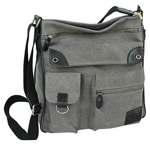 J JONES JENNIFER JONES Damen Umhängetasche - Große geräumige Schultertasche aus Canvas - crossover Handtasche (Grau)