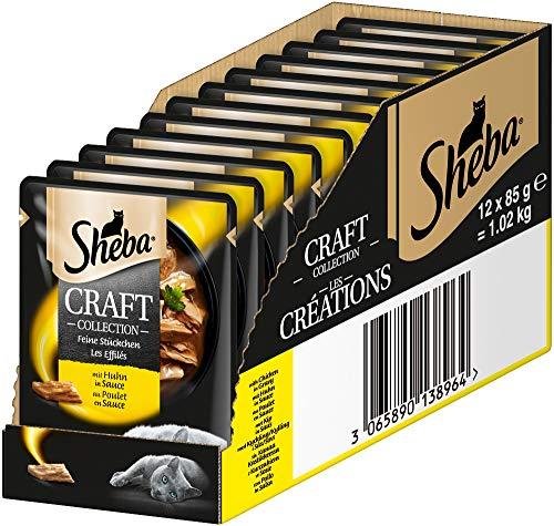 Sheba Craft Collection – Edles Nassfutter für Katzen – Feine Stückchen mit Huhn und Sauce – 12 Portionsbeutel à 85g