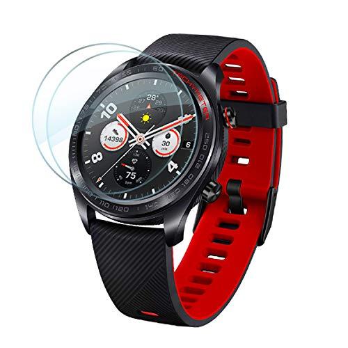 Lebama Schutzglas Schutzfolie kompatibel für Huawei Watch GT/GT Active Zubehör Bildschirmschutzfolie Bildschirmschutz Hartglas Premium Klar 9H Bildschirmfolie - 2 x Bildschirm Glas Folie für Huawei Watch GT