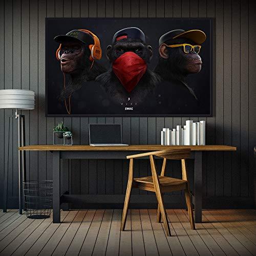 ganlanshu Pintura sin Marco Pintura Animal Pintura Moderna Mono Pared póster y Sala de Estar decoración del hogar pinturaZGQ2969 40X70cm
