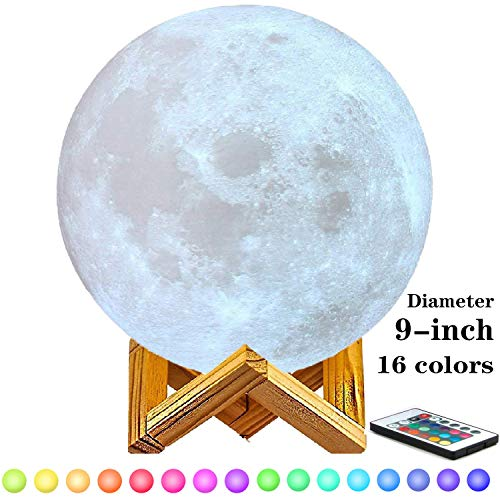 9 inch Moon Lamp Moon Light, 3D Printing Moon Lamp with Stand, Touch Control and Remote Control with LED 16 Colors.