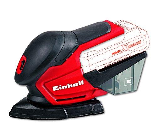 Einhell TE-OS 18 Li Solo - Lijadora múltiple sin cable, 6 papeles abrasivos para madera, 22000 oscilaciónes/min, sin batería/cargador, color rojo y negro