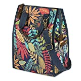 SMRITI Thermal Insulated Lunch Bag Reusable Canvas Leakproof Cooler for Men Women Adults Lunch Container with Crazy Horse Leather Handle Watter Bottle Holder(Flower)
