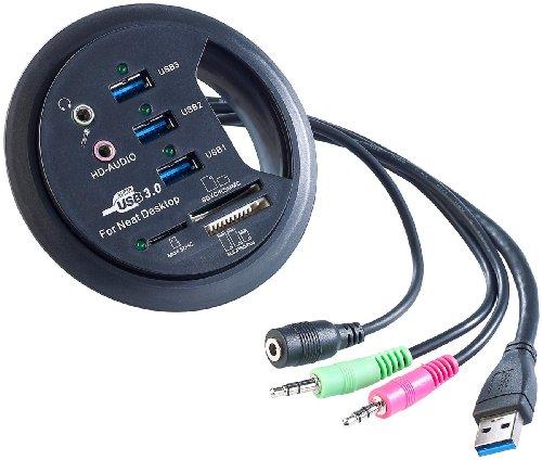 Xystec Tisch-Kabeldose 80 mm, USB-3.0-Hub, Card-Reader, Audioanschluss