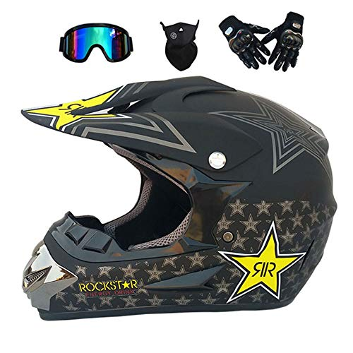 GWJNB Dual Sport Motocross Helm/Adult MX Off-Road Motorcycle/AM Mountainbike Fullface Helm (Handschuhe, Goggles, Maske, Set of 4),Matteblack,L