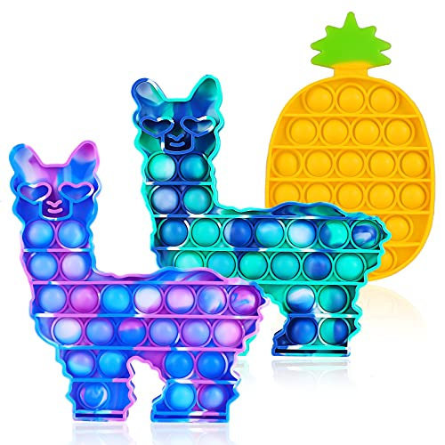 4PCS Pop Fidget Sensory Toy Set, Llama Fidget Popper, Bubble Popping Sensory Toy, Autism Special Needs Stress Reliever and Anti-Anxiety Toys,Silicone Squeeze Sensory Toy for Kids Adults