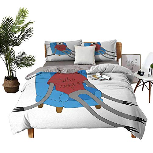 Four-Piece Bedding Bedding Cover Sets Bed Sheets Urban Sloth T-Shirt with Inscription Who Cares Procrastination Laziness Idleness Blue Grey Ruby Double-Bed Room W104 xL90