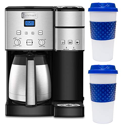 Cuisinart SS-20 Coffee Center 10-Cup Thermal Single-Serve Brewer Coffeemaker Silver (SS-20) Bundle with 2X Deco Chef Reusable 16-Ounce Capacity to Go Mug Blue/White