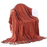 battilo ganzjährig gestreift Colorful Weich & atmungsaktiv Nap Decke Sofa Decke Schal Neugeborene Baby Decke ziegelrot