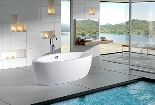 Freistehende Badewanne MODENA ACRYL weiß BS-859 185x91 inkl. Ab/Überlauf