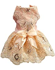 NACOCO Dog Lace Wedding Dress Tutu Skirt Puppy Cat Floral Princess Dress Pet Birthday Party Costume for Spring Summer (M, Champagne)