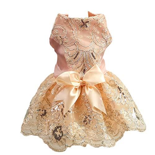 Worderful Dog Dress Small Pet Wedding Dress Puppy Cute Dress Dog Birthday Party Dress Girl Floral Princess Cat (Pink, S)