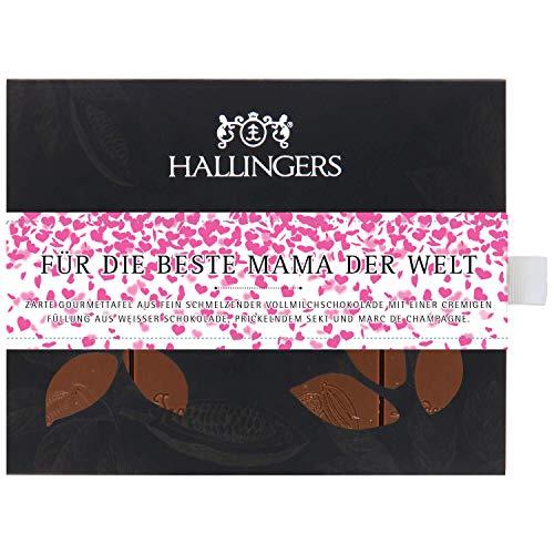 Hallingers Vollmilch-Schokolade mit Marc de Champagne hand-geschöpft (90g) - Für die beste Mama der Welt (Tafel-Karton) - zu Muttertag & Vatertag Danke