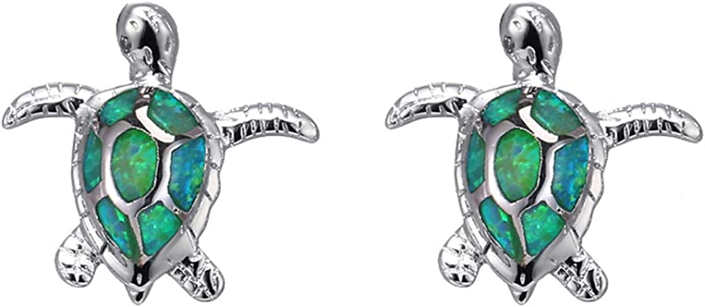 Sea Turtle Earrings for Women Created-Opal Stud Earrings Birthday Animal Jewelry Gifts for Girls
