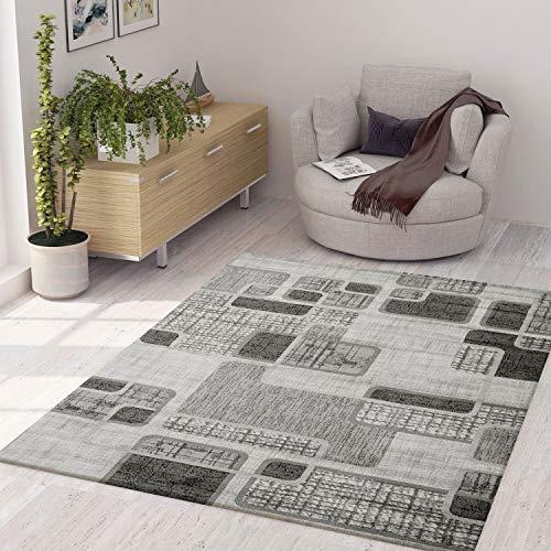 VIMODA Teppich Modern Kariert Retro Muster Meliert in Grau Hellgrau Beige, Maße:80x150 cm