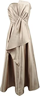 Women's Strapless Mikado Ball Gown with Bow Accent Dress
