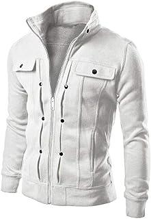 Giacca da Uomo Inverno Caldo Collo Alto Collo Manica Abbigliamento Lunga Vintage Cappotto da Uomo Slim Cardigan Zipper Out...