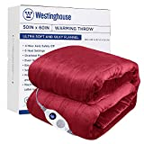 Westinghouse Electric Blanket Heated Throw Soft Silky Microplush Flannel Heating Blanket 50'x60', 6 Heat Settings & 4 Hours Auto Off, Machine Washable, Burgundy