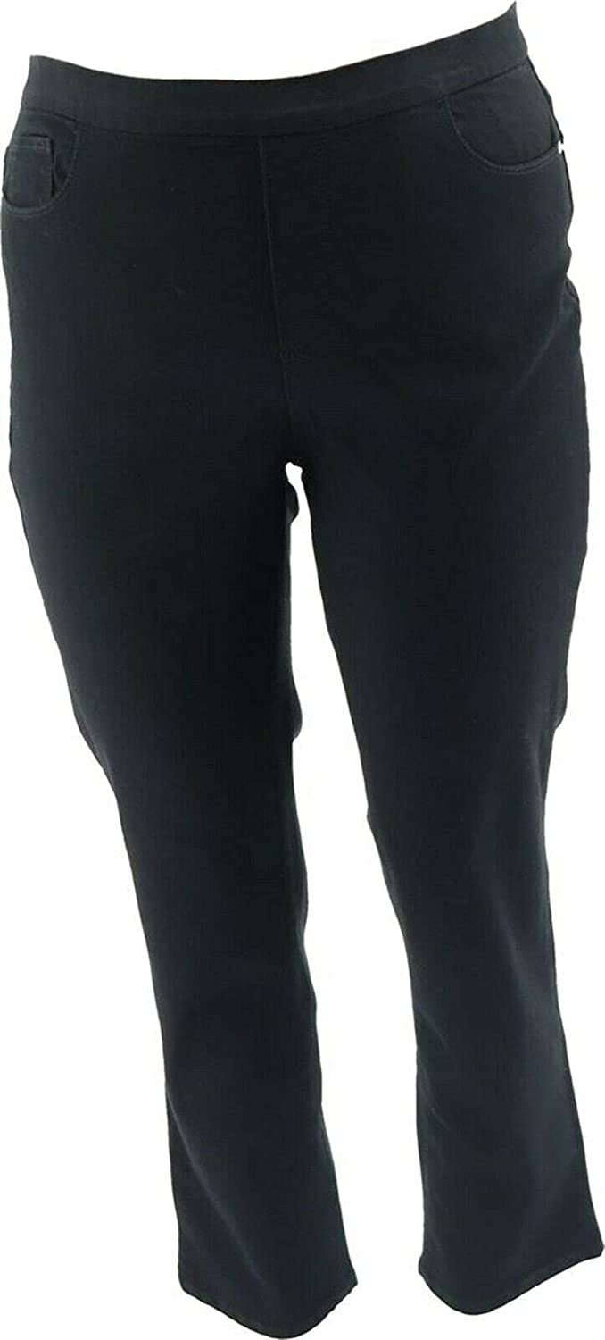 Denim & Co. Pull-On Slim Ankle Jeans Black Wash 18W New A354411