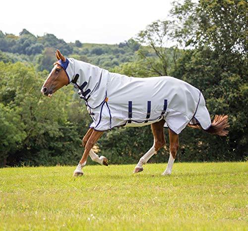 Shires Highlander Plus Sonnenschutz für Pferde/Pony, Fliegenkombination in Grau, UV 1,65 m / 167,6 cm, Grau