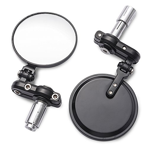 MICTUNING Universal Motorcycle Mirrors - 3 Inch Round Folding Bar End Side Mirror Compatible with Honda, Scooter, Suzuki, Yamaha, Kawasaki, Victory, Harley Davidson and More