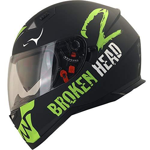 Broken Head Adrenalin Therapy VX2 - Motorrad-Helm Mit Sonnenblende - Matt-Schwarz & Grün - Größe L (58-59 cm)