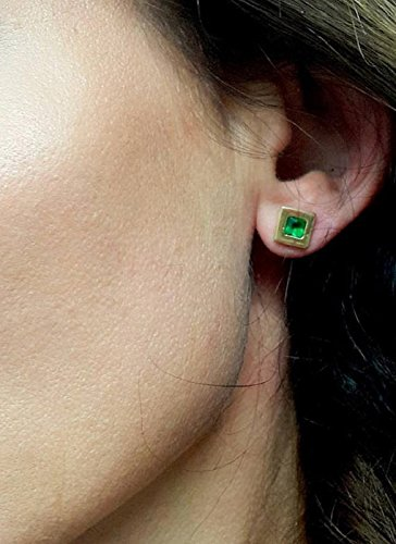 Amazon Com Tiny Emerald Jewelry Post Stud Earrings Green Small Earrings Square Gold Posts Simple Earrings Handmade
