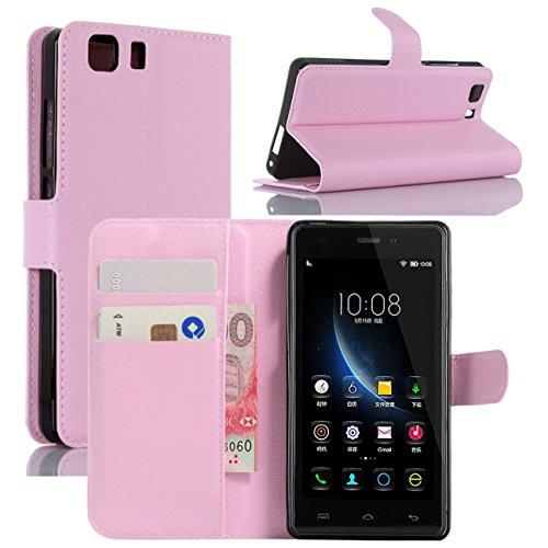 HualuBro Doogee X5 Hülle, Doogee X5 Pro Hülle, Premium PU Leder Leather Wallet HandyHülle Tasche Schutzhülle Flip Hülle Cover für Doogee X5 / Doogee X5 Pro Smartphone (Pink)