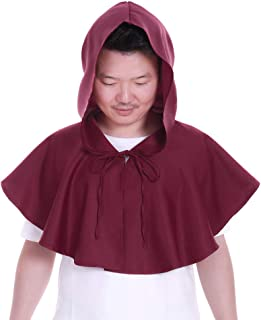 CosplayDiy Medieval Monk Robe Cosplay Halloween Hooded Short Cape Costume Cloak