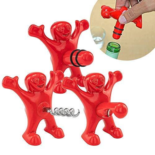 Apribottiglie Uomo Rosso 3 Pezzi Simpatico Apribottiglie Tappi Di Bottiglie Di Vino Divertente Divertente Apribottiglie Regalo Set Tappo Sigillante Per Vino Rosso Per Il Regalo Di Compleanno Di Natale