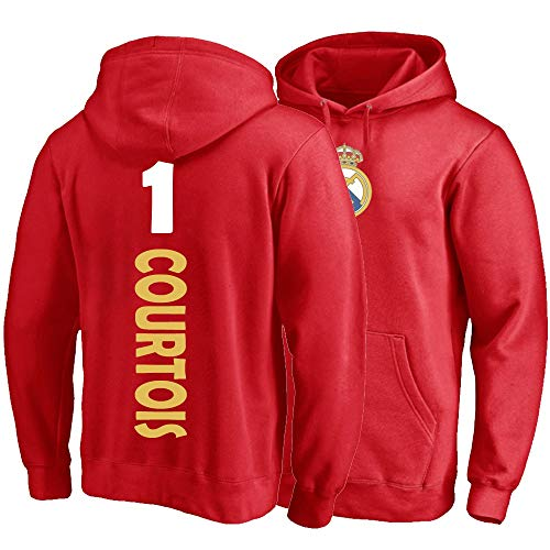 XH Sport Hoodie Thibaut Courtois # 1 Männer Frauen Hooded Pullovers Trikots Lose Sweatshirts Winter Warme Jacke S-3XL (Color : Red, Size : Large)