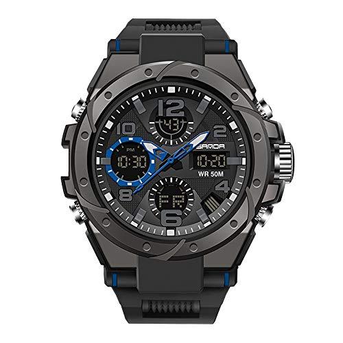 Herren Digitale Armbanduhr Military Sport Analog-Digital Chronograph Uhren für Männer Big 56 mm Wasserdicht LED Harz Armbanduhr (B)