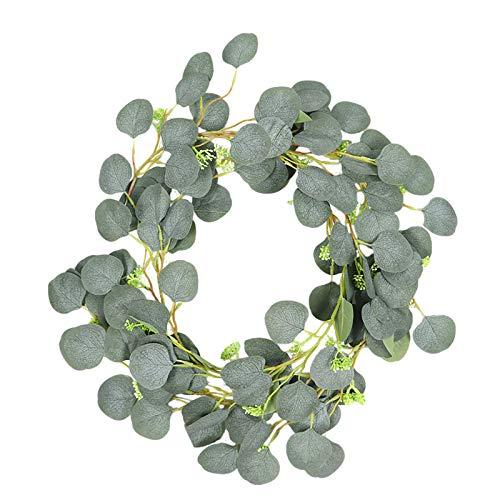 Moent Ginkgo - Guirnalda de hojas de eucalipto, guirnalda de hojas verdes de simulación para sala de estar, ventana, primavera, decoración del hogar, para adornos de día de San Patricio (C)