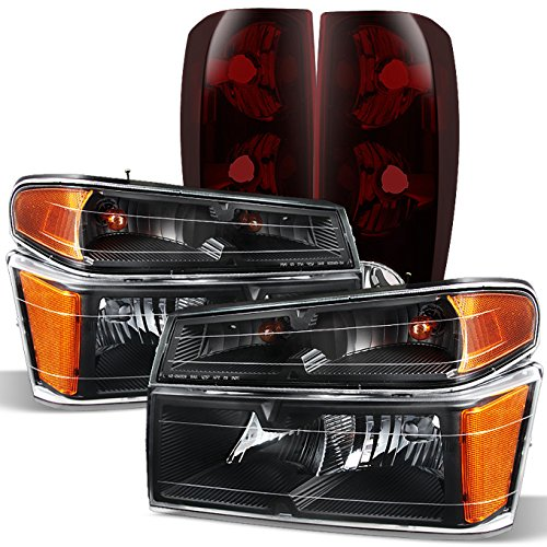 For Chevy Colorado|GMC Canyon Black Headlights + Dark Red Tail Lights Left & Right Pair Replacement Set