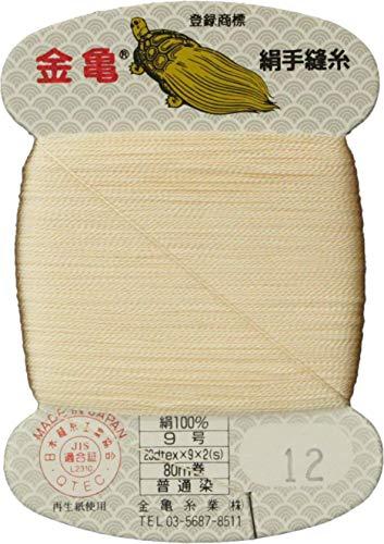 手縫い糸 『絹糸 9号 80m カード巻き 12番色』 金亀糸業