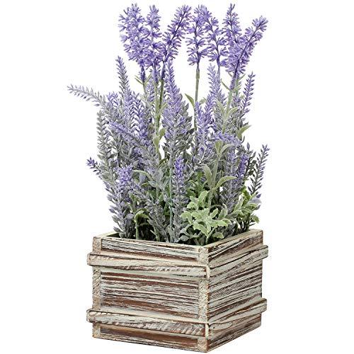Pianta artificiale di lavanda in vaso, in vaso di legno rustico, fiori di lavanda, artificiali, per...