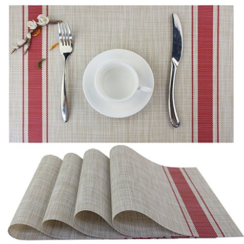 Bright Dream Table Mats Washable Non Slip Kitchen Plastic Dining Placemats Set of 4Red